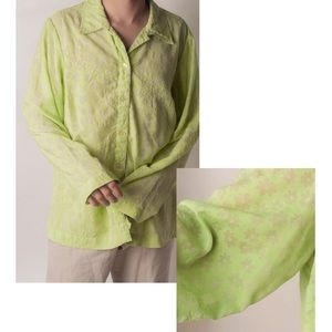 """VTG """"JH Collectibles"""" Sheer Floral Green Blouse"""